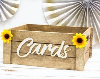 Sunflower Card Box Rustic Wedding Card Box Banner Wedding Decor Wooden Card Box Wedding Card Box Chest Sunflower wedding
