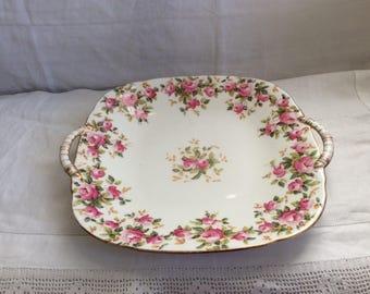 A pretty Pink Floral Vintage Copeland Sandwich/Cake Plate.