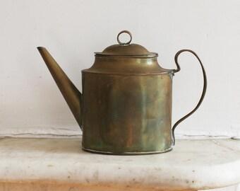 Antique Brass Kettle, Handmade Tea Pot, Coffee Pot, Watering Can, Rustic