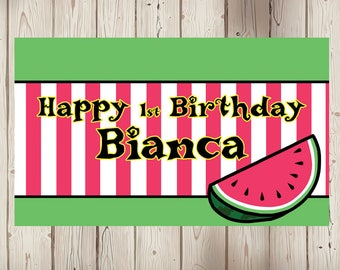"18""x30"" Watermelon Theme Personalized Party Banner 