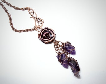 Shaman long wire wrapped necklace with raw amethysts and copper rose Wiccan pagan jewelry Boho statement necklace Birthday gift for womens.