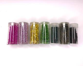 Big Bundle of Glass Bugle Beads and Glass Rocaille Beads - Glass Seed Beads