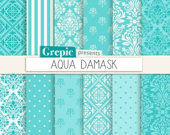"Aqua damask: digital paper ""AQUA DAMASK"" backgrounds pack with aqua / teal / turquoise / blue classical damask patterns"