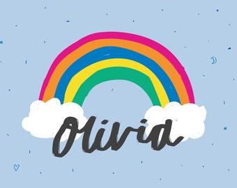 Custom name print  - rainbow name art - Personalised baby name print