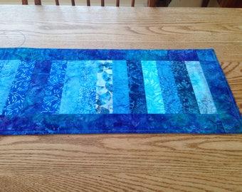 Blue/turquoise batik table runner
