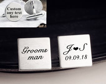 Groomsman cuff links, engraved cufflinks, custom personalized cufflinks tie clip set, groom wedding cufflinks, Gift for Him, groomsmen gift
