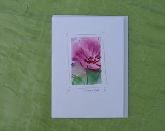 watercolor notecard, original painting, handmade, flower card, original watercolor card