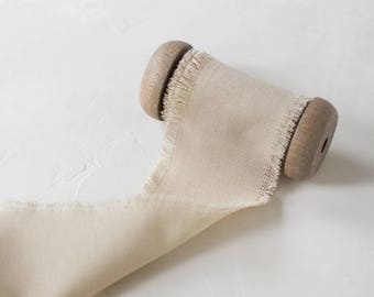 """Natural Frayed Linen-Look Ribbon (with Wooden Spool) - 5 yards - 2.5"""" wide"""