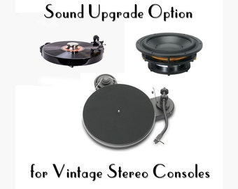 Sound Performance Pack Option for Repurposed Stereo Console // Works with our stereo consoles // upgraded turntable // digital sound process