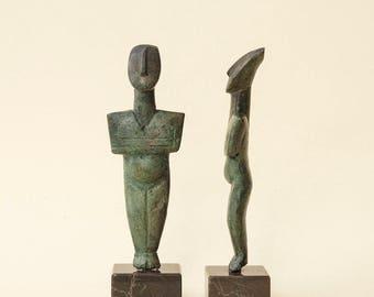 Abstract Figurine, Metal Sculpture Greek Cycladic Art, Ancient Greece Statue, Museum Replica, Minimalist Cycladic Art, Home Decor