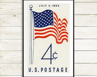 Vintage July 4th poster, 4th of July wall art, fourth of july wall decor, vintage Independence Day posters, vintage US flag posters
