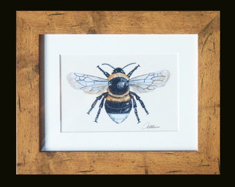 Bumble Bee Picture,Bee Print,Bee painting in Oak effect frame. A Print of the original painting framed. This one has been a firm favorite!