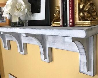 "48"" Distressed Shabby Wall Shelf, Floating Mantel, Mantel Shelf, Fireplace Mantel, Shabby Shelf, Display shelf, French Country Shelf"