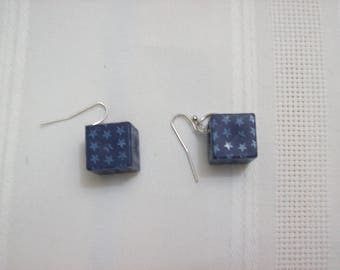 Trendy Blue Cube with Lighter Blue Tiny Stars Silver Color Earrings Nichol Free Wires