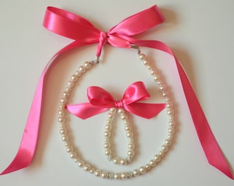 Flower girl jewelry/Pink ribbon flower girl pearl jewelry set/Flower girl gift/Wedding jewelry/Beach wedding/Mini bride gift/Kids jewelry