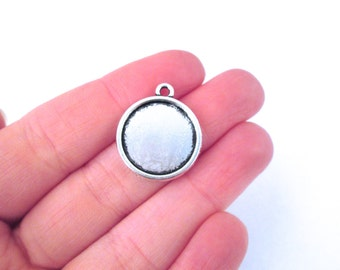 10 16mm Double Sided Round Pendant Settings, Silver Plated,  B93
