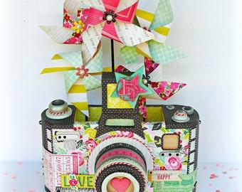 Birthday Centerpiece, Camara Centerpiece, Camera