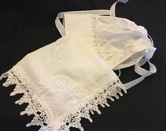 Christening bonnet  christening handkerchief   & bonnet  Miss Lisa