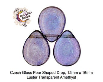 Czech Glass Pear Shaped Drop, 12x16mm, 10 beads, Luster Transparent Amethyst ;  Beading, Stringing, Wire, Fringe, for Jewelry