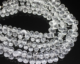 """Natural White Quartz Faceted Briolette Tear Drop Craft Loose Beads 8mm 7mm 10"""" - Jewelry Making"""