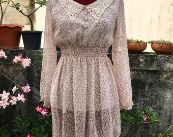 Vintage flower empire waist dress Size.S-M Free Shipping Cute dress minimalist retro style
