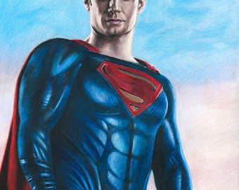 Drawing Print of Henry Cavill as Superman in Justice League