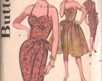 1960 Vintage Sewing Pattern B34 DRESS - SARONG DRESS & Jacket (1498) Butterick 9629