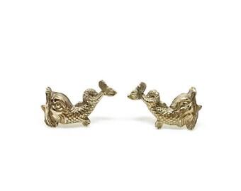 Heraldic Fish Pin Set | Friendship Jewelry | Brass Pins | Fish Pins | Ocean Jewelry | Dolphin Pins
