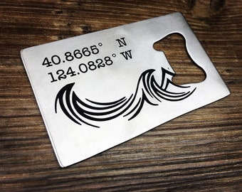 "Arcata Ca -  GPS Coordinates Latitude Longitude Wallet Size Bottle Opener -""credit card"" size Beer Opener - Unique gift for a beer lover"