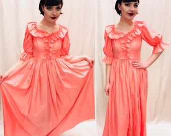 Vintage Dress, Size 6/8, 1980s Dress, Bridesmaids Dress, Frilly Dress, coral dress.
