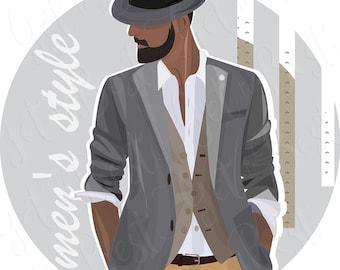 Mens style, Digital illustration, Style, Vector art, Digital download,  PNG 300dpi