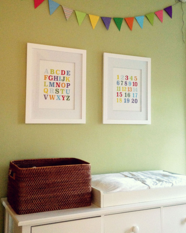 Alphabet & Numbers Prints ABC and 123 Nursery Art Instant