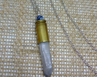 Crystal Wand Bullet Necklace Quartz Crystal Recycled Ammo Sodalite Real Stone Shootergirl Ammunition Jewelry