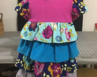 Little girls corduroy ruffle dress, solid and floral print, size 4