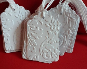 Sets of 25 or 100 White embossed tags, Wedding tags, Favor tags, Blank tags, Paper tags, Gift tags, Wish tree tags