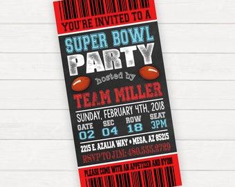 Super Bowl Invitation Super Bowl Party Invitation Super Bowl Invite Super Bowl Ticket Invitation Football Ticket Invitation Superbowl Party