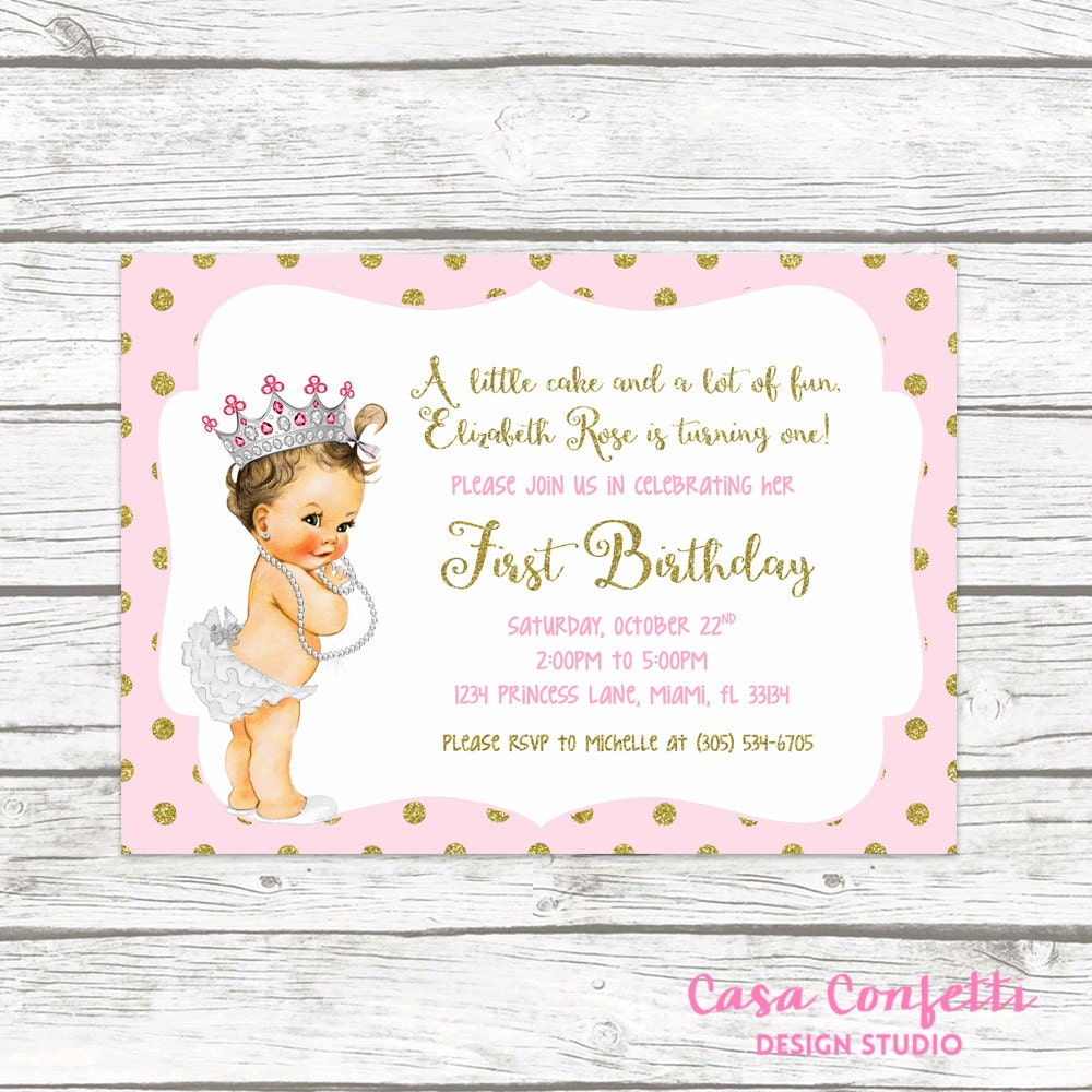 1 Year Baby Birthday Invitation Quotes: Pink And Gold Glitter Princess First Birthday Party