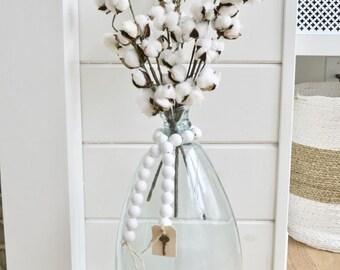 White Wood Bead Garland - White Ball Garland - Key to Decor Beads White Garland - White Wooden Bead Garland - White Ball Garland