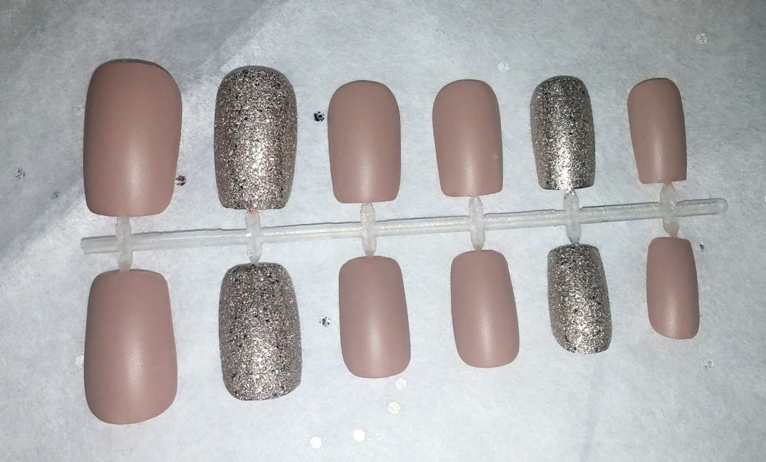 Matte tan glitter fake nail set Press on Nails Acrylic
