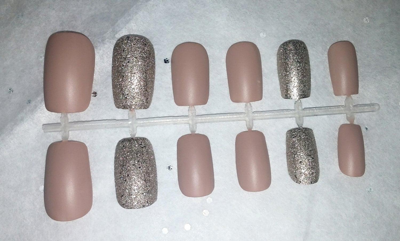 Matte tan glitter fake nail set- Press on Nails- Acrylic Nails ...