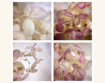 Hydrangea Print Set, Sepia Photography, Flower Decor, Macro Photography, Pastel Art Prints, Sepia Photo Set