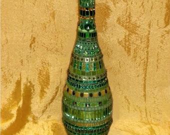 Mosaic Glass Bottle - Greenie Bottle