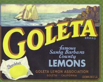 Goleta Lemons Vintage Crate Label, 1930's