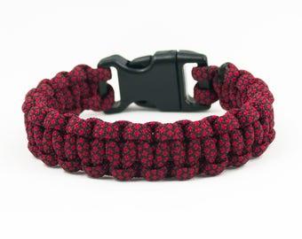 Red Cobra Bracelet, Vampire Bracelet, Hiking Accessories, Camping Gear, Mens Gift, Dad Gifts, Paracord Bracelet, Survival Bracelet, Dark Red