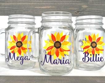 Sunflower Wedding, Sunflower Mason Jars, Sunflower Bridesmaid Gift, Personalized Mason Jars, Bridesmaid Wine Glasses, Bridesmaid Glasses