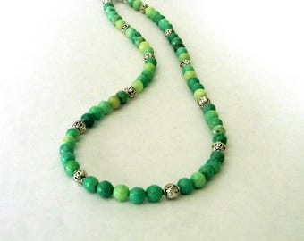 Green Opal Stone Necklace Toggle Clasp 19 Inch