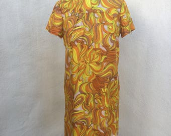 Vintage retro sheath short dress yellow lion print sz S M