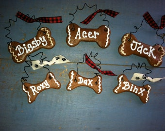 Personalized Dog Ornament, Christmas Ornament, Gingerbread Ornament, Dog Bone Ornament