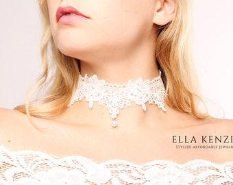 Wedding Choker Necklace, Bridal Choker Necklace, White Pearl Choker Necklace, Wedding Necklace, Bridal Necklace, White Lace Choker Necklace
