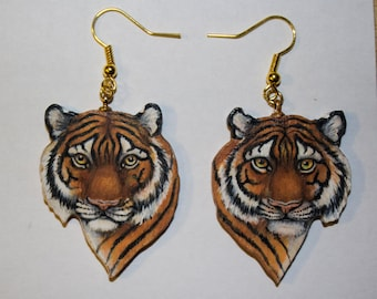 Tiger Earrings, Original Art